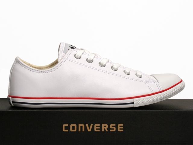 converse schuhe chucks all star ox slim white wei leder. Black Bedroom Furniture Sets. Home Design Ideas