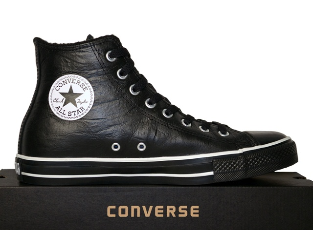 converse schuhe chucks all star hi schwarz gef ttert leder. Black Bedroom Furniture Sets. Home Design Ideas