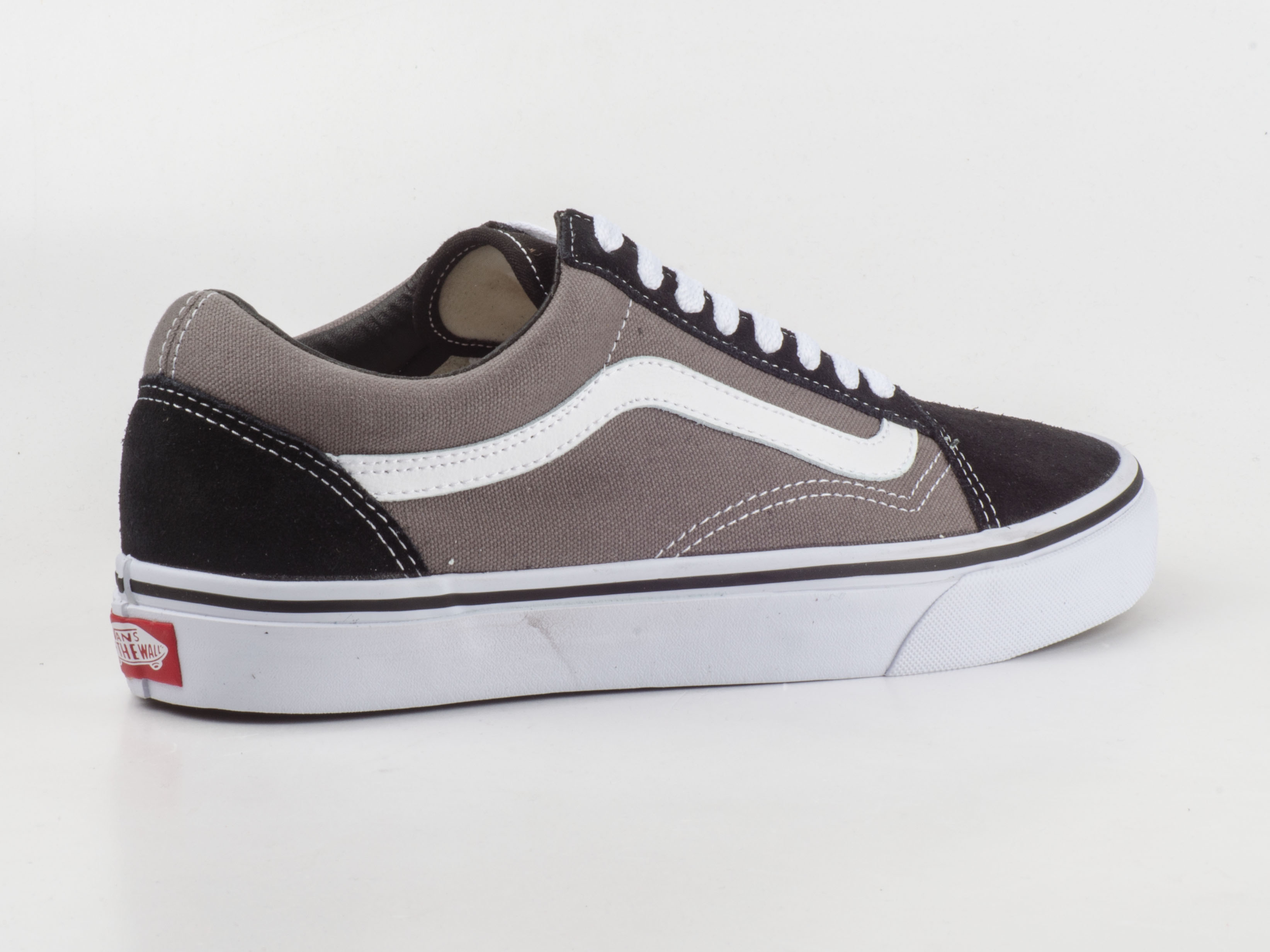 vans schuhe sneaker old skool vkw6hr0 skater schwarz grau wei canvas leder. Black Bedroom Furniture Sets. Home Design Ideas