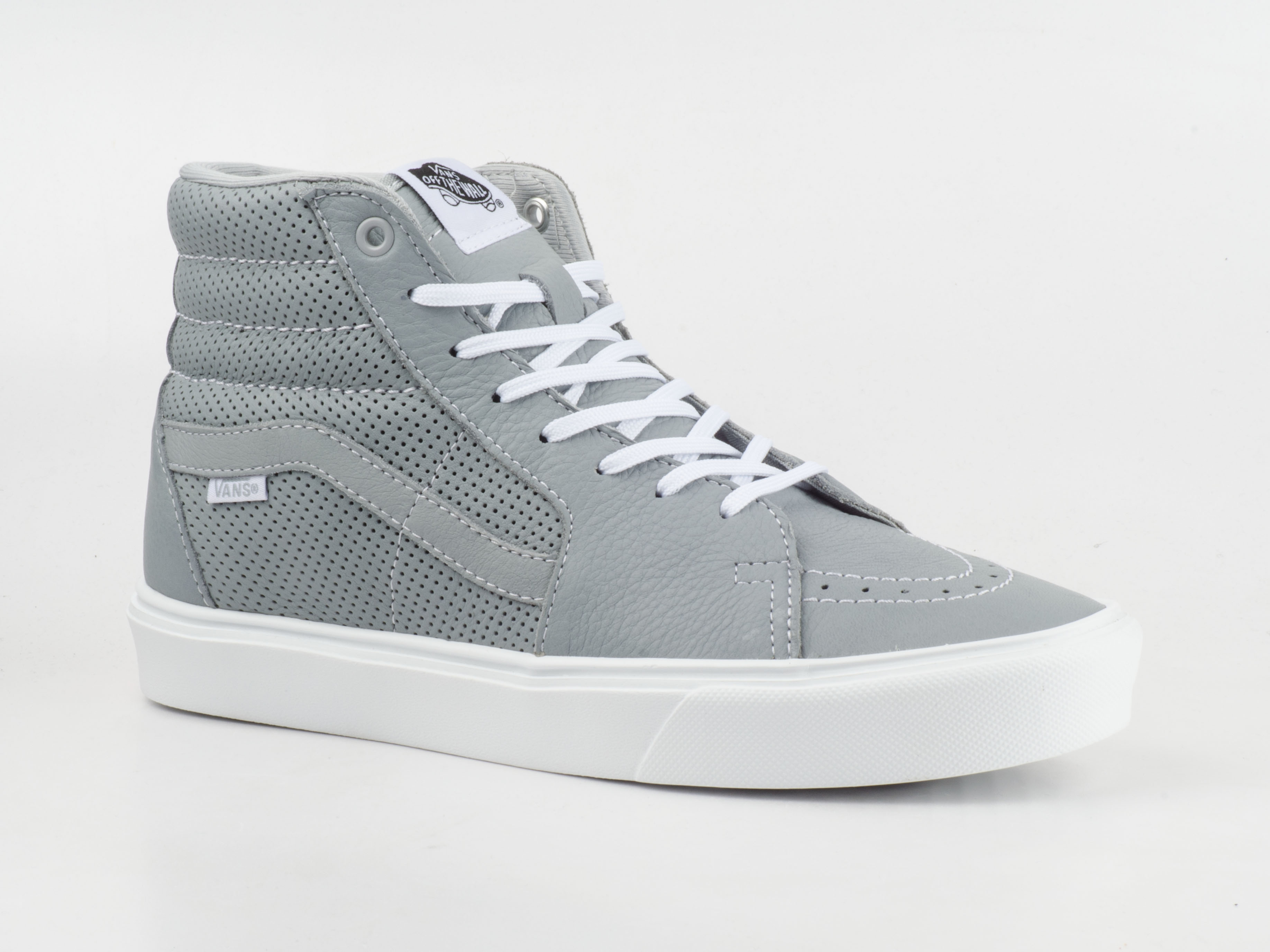 vans schuhe sneaker sk8 hi lite vxe4fji skater grau wei leder perforated ebay. Black Bedroom Furniture Sets. Home Design Ideas