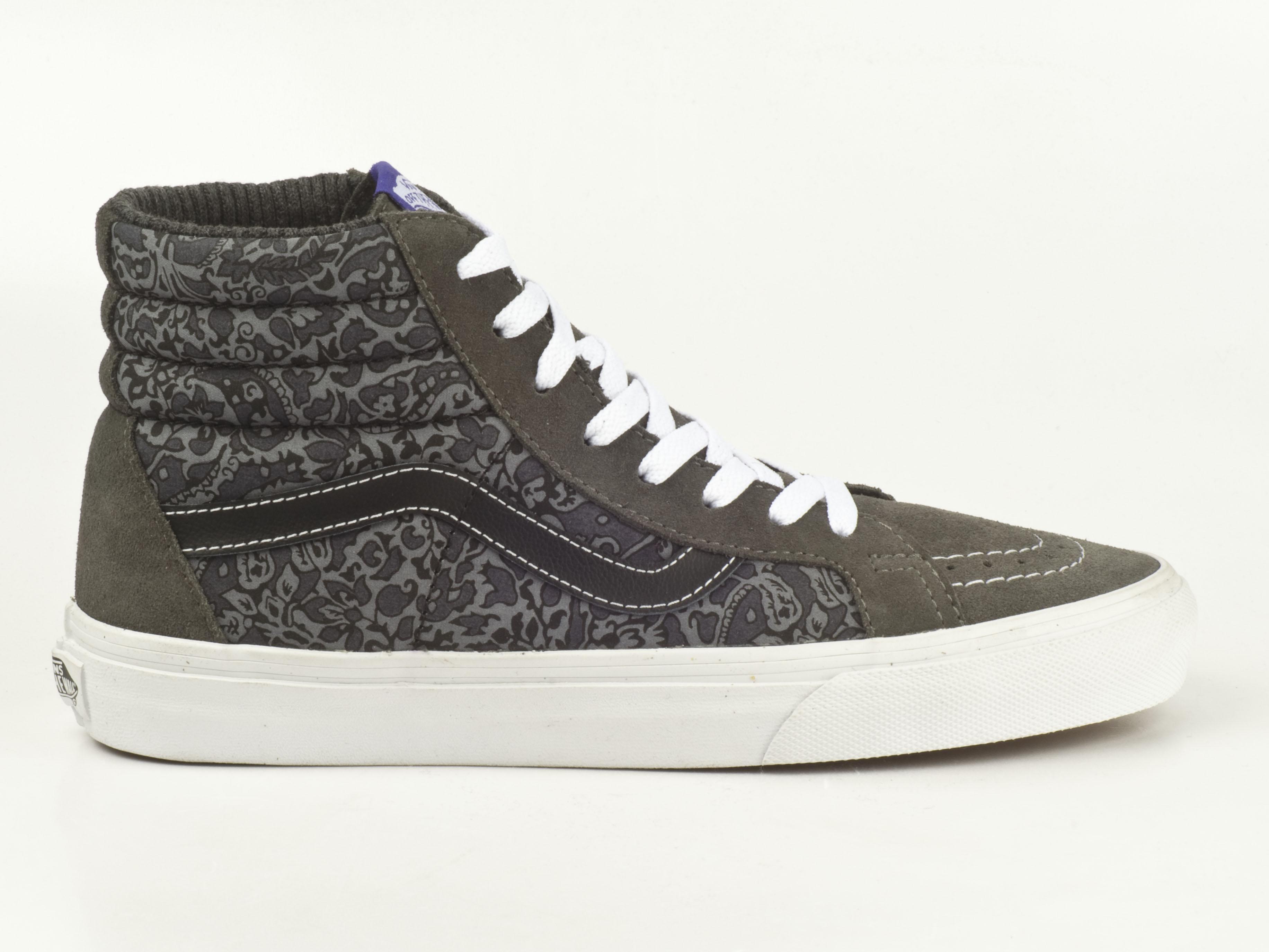 vans schuhe sneaker sk8 hi reissue vza0euh skater grey grau wei paisley leder. Black Bedroom Furniture Sets. Home Design Ideas